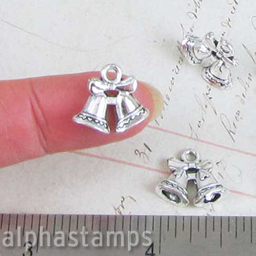Silver Double Bell Christmas Charms