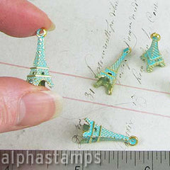 Gold & Green Patina Eiffel Tower Charms