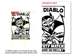 El Diablo Matchbox Label Rubber Stamp