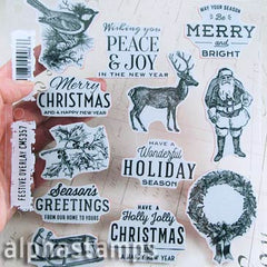 Tim Holtz Festive Overlay Cling Stamp Set