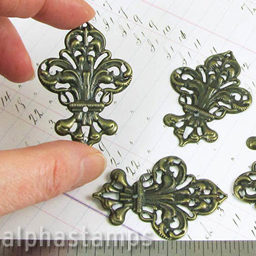 Large Fancy Bronze Fleur Filigree