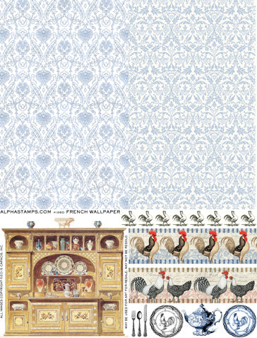 French Wallpaper Collage Sheet