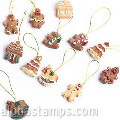 Set of Mini Gingerbread Cookie Ornaments
