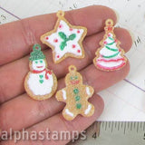 Sugared Mini Gingerbread Ornaments Set*