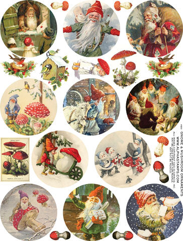 Gnome & Mushroom Ornaments Collage Sheet