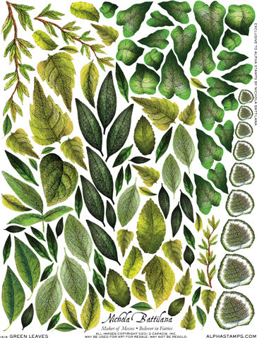Green Leaves Collage Sheet