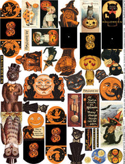 Halloween Clock Spinners Collage Sheet