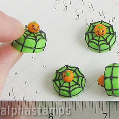 Mini Halloween Cake - Green with Spider Web & Pumpkin