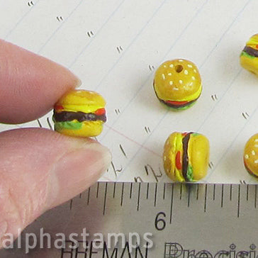 Tiny Ceramic Hamburger Bead