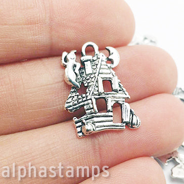 Silver Haunted House Charm