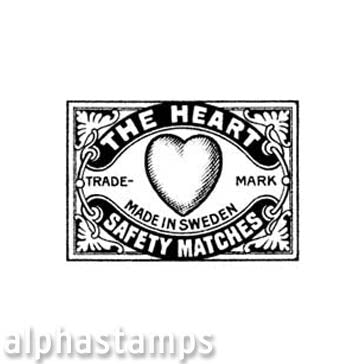 The Heart Matchbox Label Rubber Stamp