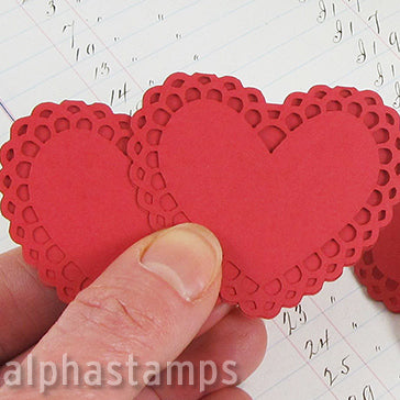 Folding Heart Cards - Red - Set of 3
