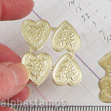 Embossed Gold Dresden Hearts with Flowers