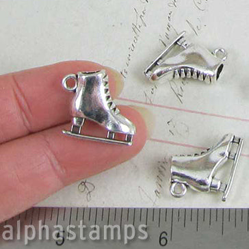 3D Silver Ice Skate Charm