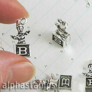 3D Silver Jack in the Box Charm