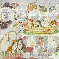 Kittens in Basket Dresden Scraps