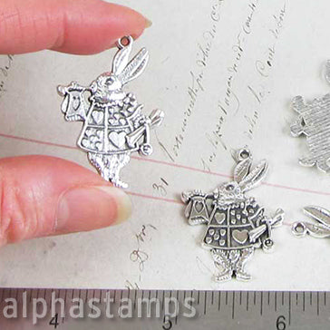Large Antique Silver White Rabbit Charm