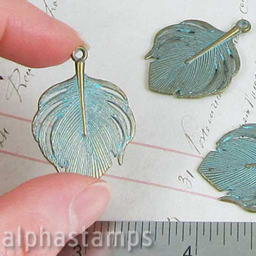 Wide Feather Charm - Patina Brass