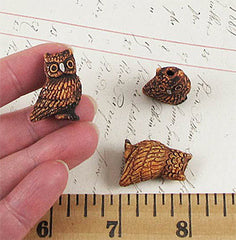 Ceramic Burnt Umber Owl Bead - Large