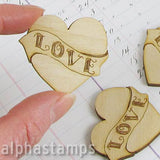 Etched Wooden Valentine Heart