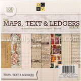 Maps, Text & Ledgers 8x8 Paper Set