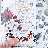 Midnight Garden Rose Receipts Scrapbook Paper