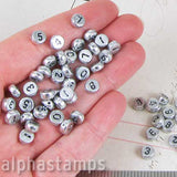 Silver Number Beads