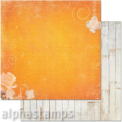 Orange Petals & Wood Planks Scrapbook Paper