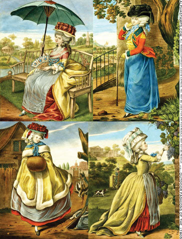 Outdoor Fashions of the 1780s Collage Sheet