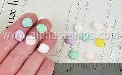 10mm Resin Seashell Cabochons - Pastel Colors*