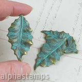 Large Patina Brass Leaf Charm