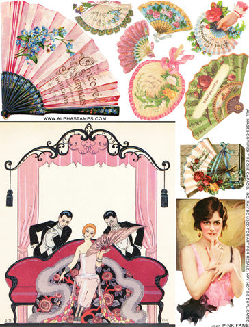 Pink Fans Collage Sheet
