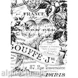 French Floral Collage Rubber Stamp