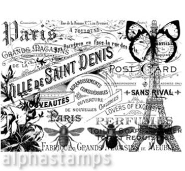 French Bees Collage Rubber Stamp