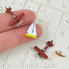 Miniature Toy Plane and Sailboat Set