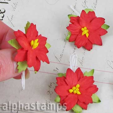 Small Red Mulberry Paper Christmas Poinsettias