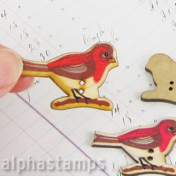 Red Bird Wooden Button