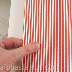 Red & Ivory Narrow Stripes Scrapbook Paper