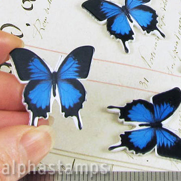Blue Resin Butterfly Embellishments*