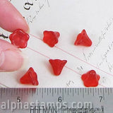 10x6mm Acrylic Bell Flower Beads - Ruby Red