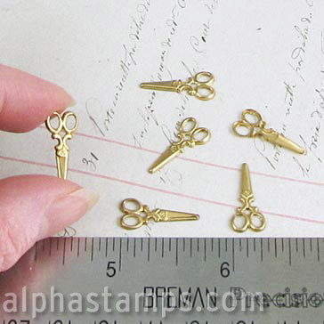Small Brass Scissors Charms