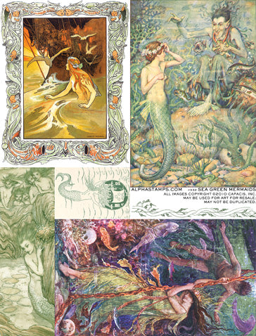 Sea Green Mermaids Collage Sheet