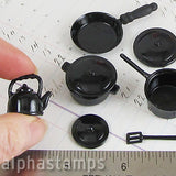 Set of Black Metal Pots & Pans