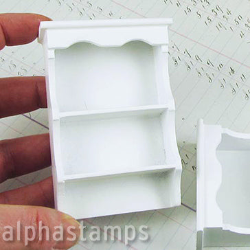 White Wooden Wall Shelf with Scallop Top