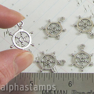 Small Silver Ship Wheel Charm