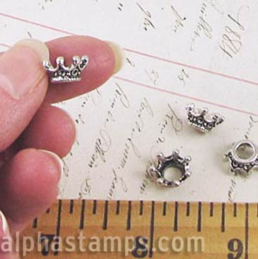 Tiny Antique Silver 3D Crowns