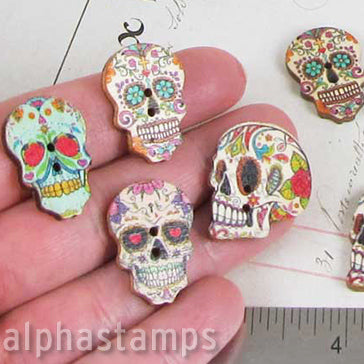 Printed Wooden Day Of The Dead Skull Buttons Alpha Stamps