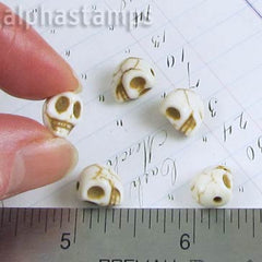 Small White Turquoise Skull Beads