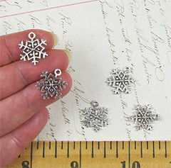 Small Antique Silver Snowflake with Loop*