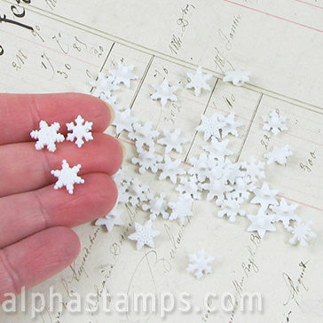 Tiny White Snowflake Buttons
